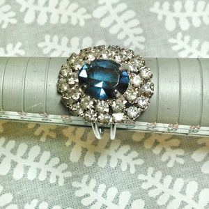 ✨Cocktail Statement Ring Blue & Rhinestone